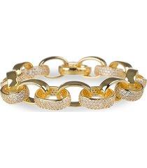 cz by kenneth jay lane women's 18k goldplated & cubic zirconia oval chain link bracelet