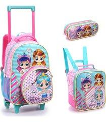 kit mochila com rodinhas hey little girls com lancheira e estojo rosa