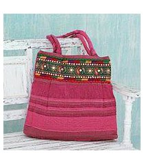 cotton shoulder bag, 'majestic pink' (india)