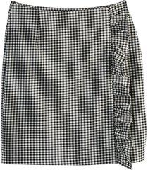 smårutig kjol i rak, kort modell