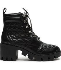 cory leather combat bootie - 10 black leather