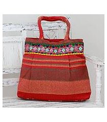 cotton shoulder bag, 'scarlet dawn' (india)