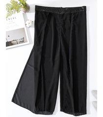 pantaloni da donna elasticizzati in puro cotone chiffon di colore