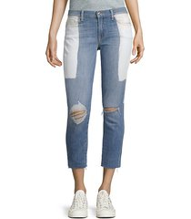 two-tone frayed-hem jeans