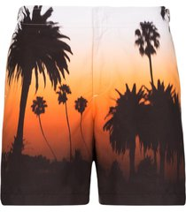 orlebar brown bulldog palm tree-print swim shorts - orange