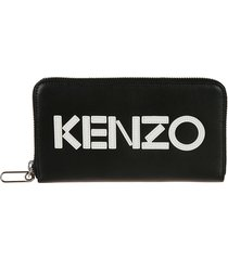 kenzo logo patch zip around wallet