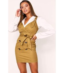 button front buckle dress, khaki