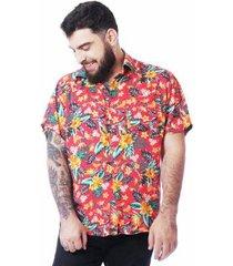 camisa elephunk floral hibiscos masculina