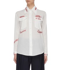 city text embroidered chest pocket shirt