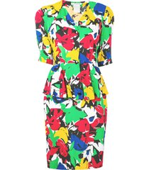 guy laroche pre-owned 1980's floral two piece dress - white