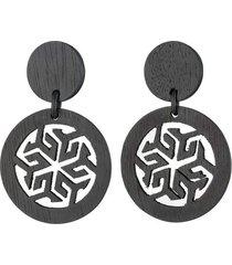 horn round drop clip earrings, women's, black, josie natori