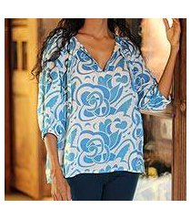 cotton batik blouse, 'island blue' (indonesia)