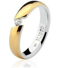aliança mista ouro 18k e prata 925 elegance natalia joias alm-158