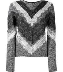 giambattista valli suéter zig zag com renda na barra - cinza