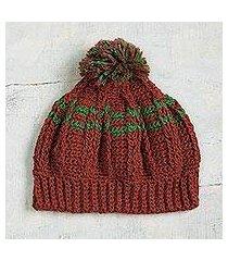 100% alpaca hat, 'cuzco russet' (peru)