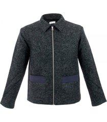 folk layered black navy pocket jacket f2404w