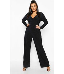 plus metallic glitter cape sleeve jumpsuit, navy