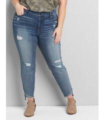 lane bryant women's curvy fit high-rise skinny jean - ripped medium wash 12 medium denim
