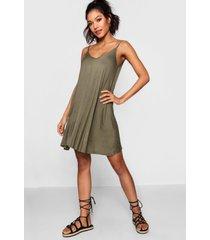 basic swing jurk met v-hals, kaki