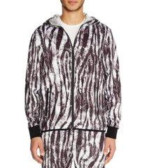 tallia men's slim-fit stretch zebra print zip-up hoodie jacket