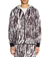 tallia men's slim-fit stretch zebra print zip-up hoodie jacket