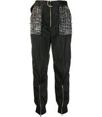 pinko tweed panel trousers - black