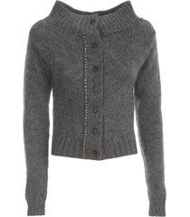n.21 mohair wool wide neck cardigan