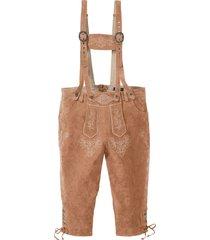 pantaloni in pelle con lacci al ginocchio regular fit (marrone) - bpc selection