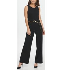 dkny gold link belt jumpsuit