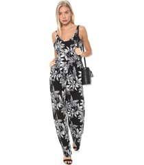 macacão facinelli by mooncity reto floral preto/branco