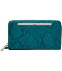 fossil women's liza leather zip around wallet wristlet