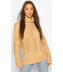 pointelle roll neck oversized sweater, stone