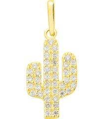 ciondolo cactus in oro giallo e zirconi per donna