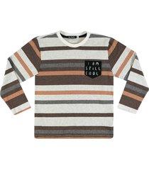 camiseta listrada ser garoto marrom - bege - menino - algodã£o - dafiti
