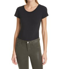 women's l'agence claire cotton bodysuit, size medium - black
