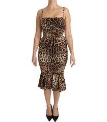 leopard bodycon schede midi zijdekleding