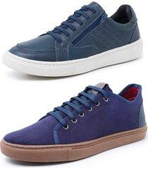 kit 2 sapatenis sandalo soft azul e levit azul