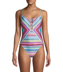 striped lace-up one-piece