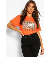 j'adore paris leopard t - shirt, orange
