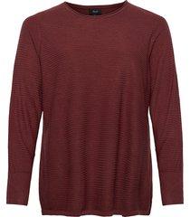knitted blouse plus long sleeves round neck stickad tröja röd zizzi
