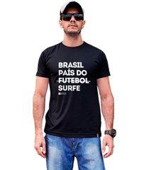 camiseta sustentã¡vel waveholic brasil paãs do surfe preta - preto - masculino - dafiti