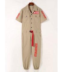 mono de manga corta con múltiples bolsillos con estampado de letras estilo hip hop para hombre mono