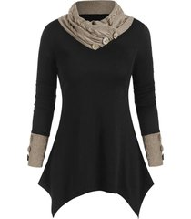 buttons cowl neck patched asymmetric top