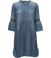 lussa denim dress jurk knielengte blauw cream