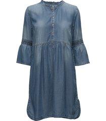 lussa denim dress jurk knielengte blauw cream