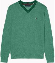 tommy hilfiger men's essential v-neck sweater green - xxxl