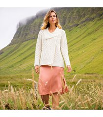 cream ladies annaghmore aran cardigan xl