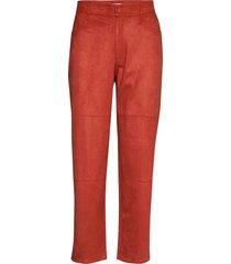 eszti suede pantalon met rechte pijpen rood rodebjer