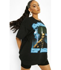 gelicenseerd oversized pop smoke t-shirt, black