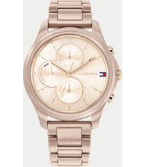 tommy hilfiger women's taupe ceramic bracelet watch wi sub-dials pale carnation gold sunray -